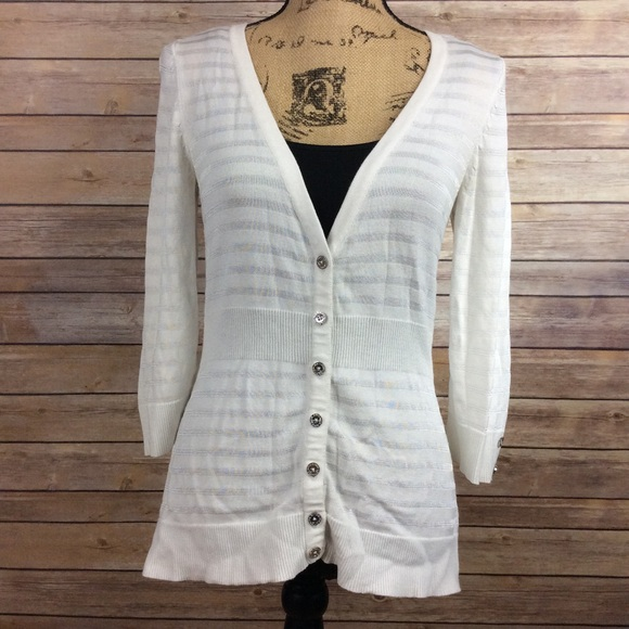White House Black Market Sweaters - ❗SOLD❗WHBM size Small Solid White Cardigan